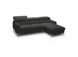 JNM  1281b BLACK OR WHITE ITALIAN LEATHER Sectional   (Right Hand Facing Chaise Only)