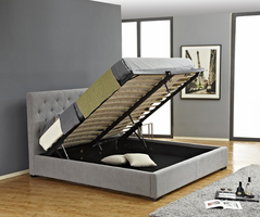 JNM Prague Storage Bed in Light Grey Fabric