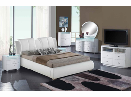 King White Leather Platform Bed