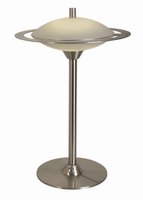 Led Table Lamp, Polished Steel/frost Glass Shade, Led Bulb 12w