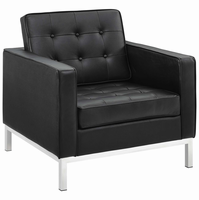 Loft Leather Armchair, Black [FREE SHIPPING]