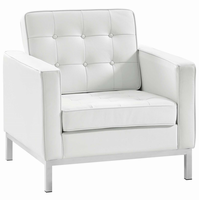 Loft Leather Armchair, White [FREE SHIPPING]