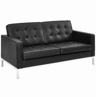 Loft Leather Loveseat, Black [FREE SHIPPING]