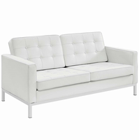 Loft Leather Loveseat, White [FREE SHIPPING]