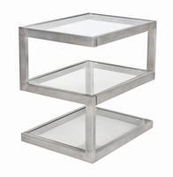 LumiSource 5S End Table in Stainless Steel and Glass