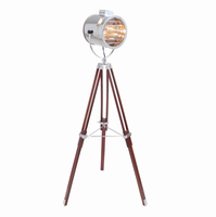 LumiSource Ahoy Contemporary Nautical Floor Lamp in Chrome and Cherry