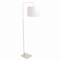 LumiSource Apollo Industrial Floor Lamp in Brushed Nickel and Grey Shade