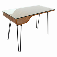 LumiSource Avery Contemporary Desk in Walnut and Clear and Black