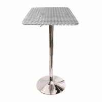 LumiSource Bistro Height Adjustable Bar Contemporary Table - Square in Silver