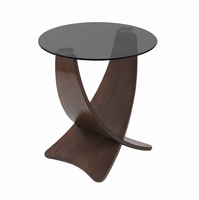 LumiSource Criss Cross End Contemporary Table in Walnut and Black