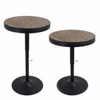LumiSource Dakota Industrial Adjustable Bar / Dinette Table in Black and Medium Brown Top