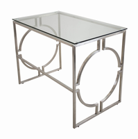 LumiSource Dynasty Contemporary Desk in Brushed Stainless Steel and Clear Glass