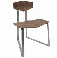 LumiSource Flight Modern Industrial Stainless Steel Chair in Walnut Wood - Set of 2