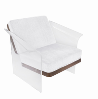 LumiSource Float Contemporary Chair in White/Brown Mohair Fabric accented by Walnut Wood and Clear Acrylic