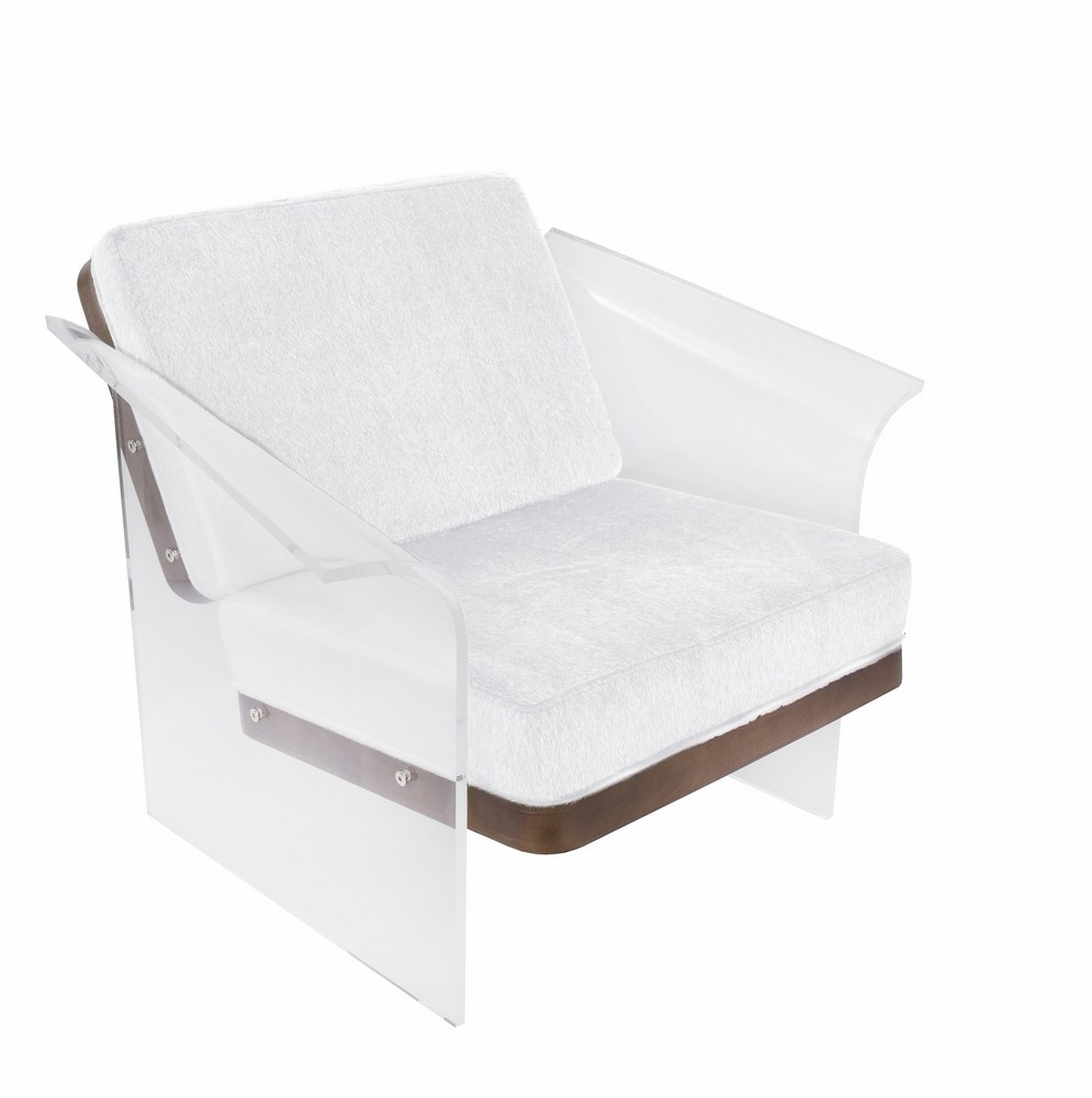 Lumisource Float Contemporary Chair In White Brown Mohair