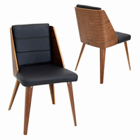 LumiSource Galanti Mid-century Modern Counter Chair - Set Of 2 in Walnut and Black