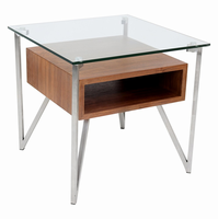LumiSource Hover End Contemporary Table in Walnut