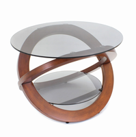 LumiSource Linx Mid-century Modern Coffee Table in Walnut and Smoked