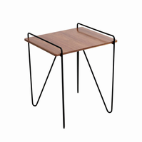 LumiSource Loft Mid-century Modern End Table in Walnut and Black
