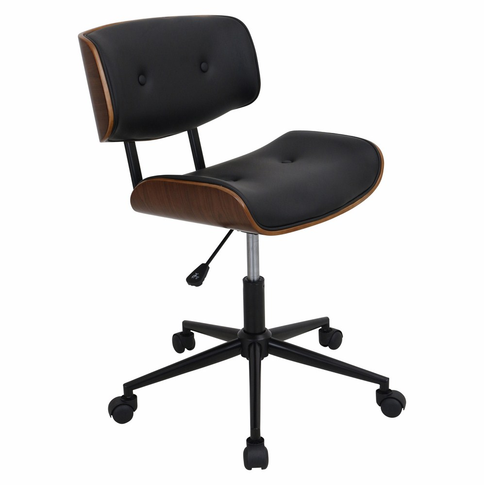 LumiSource Lombardi Height Adjustable Office Mid Century Modern Counter  Chair With Swivel In Walnut And Black