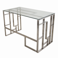 LumiSource Mandarin Contemporary Desk in Brushed Stainless Steel and Clear Glass