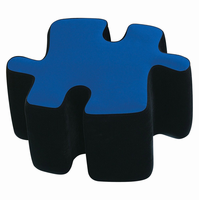LumiSource Puzzotto Ottoman in Black and Blue
