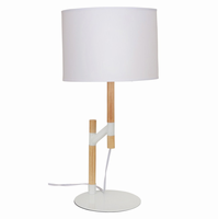 LumiSource Raised Table Lamp in Medium Brown and White
