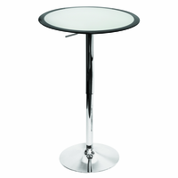 LumiSource Ribbon Height Adjustable Bar Contemporary Table in Silver and Black
