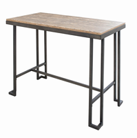 LumiSource Roman Industrial Counter Table with Wooden Top and Antique Frame