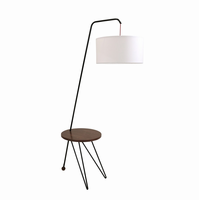 LumiSource Stork Mid-Century Modern Floor Lamp with Walnut Wood Table Accent