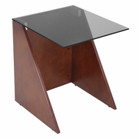LumiSource Tabulo Side Table in Walnut and Smoked Glass