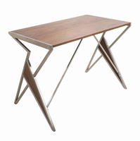 LumiSource Tetra Contemporary Desk in Walnut Wood and Stainless Steel