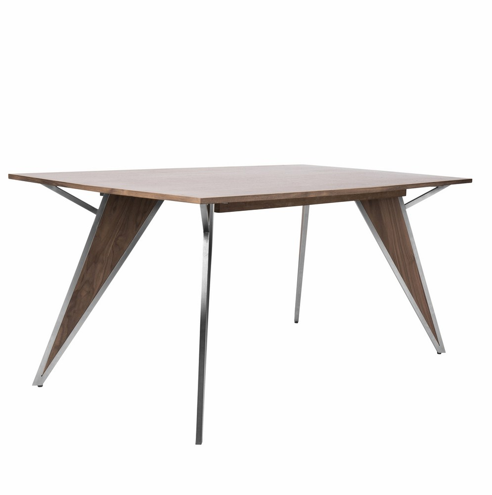 Lumisource Tetra Contemporary Dining Table In Walnut Wood And Stainless Steel