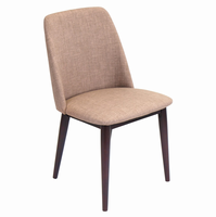 LumiSource Tintori Mid-Century Dining Contemporary Chairs in Brown Fabric - Set of 2