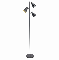 LumiSource Tres Industrial Floor Lamp in Black and Gold