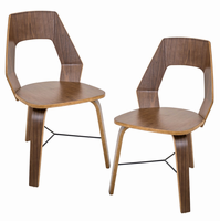 LumiSource Trilogy Contemporary Dining Chairs in Walnut Wood - Set Of 2