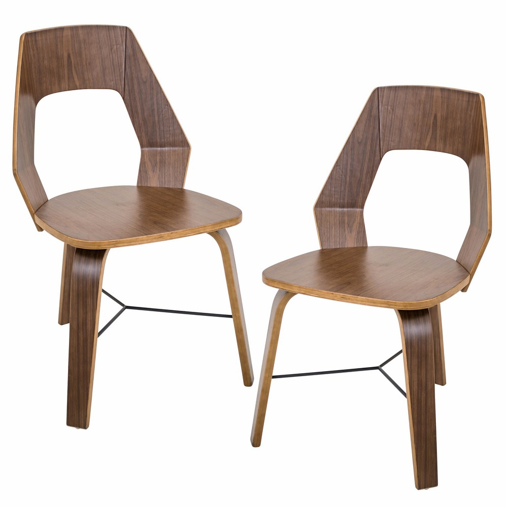 Lumisource trilogy contemporary dining chairs in walnut for Walnut dining chairs modern