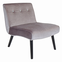 LumiSource Vintage Crush Mid-century Modern Counter Chair in Silver