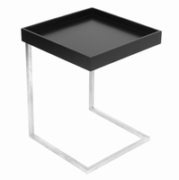 LumiSource Zenn Tray End Contemporary Table with Removable Tray in Black