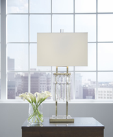 Ashley Express Furniture - Megdalia - L428114 - Metal Table Lamp (1/CN), Clear/Brass Finish