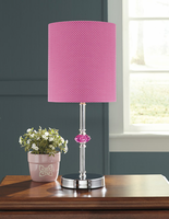 Ashley Express Furniture - Sommerville - L857684 - Metal Table Lamp (1/CN), Pink/Silver Finish