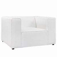 Mingle Upholstered Fabric Armchair, White [FREE SHIPPING]