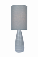 Mini Table Lamp, Brushed Grey/grey Linen Shade, E27 A 40w