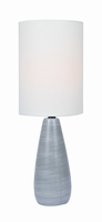 Mini Table Lamp, Brushed Grey/white Linen Shade, E27 A 40w