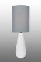 Mini Table Lamp, Brushed White/grey Linen Shade, E27 A 40w