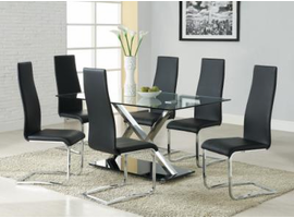 Modern Chrome X Base Dining set With White Or Black Chairs