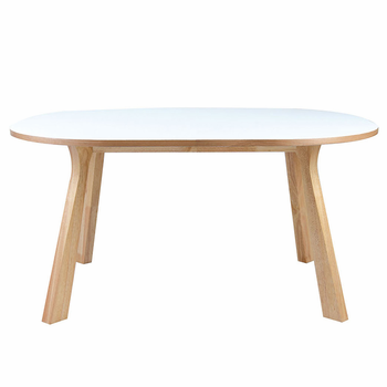Modloft 1459067 marcus white lacquer and natural oak - Natural oak dining table and chairs ...