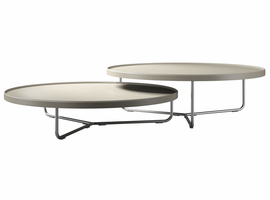 Modloft Adelphi Nested Coffee Tables in Beige Leather