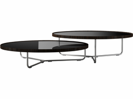 Modloft Adelphi Nested Coffee Tables in Glossy Black on Cathedral Ebony