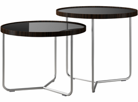 Modloft Adelphi Nesting Side Tables in Glossy Black on Cathedral Ebony